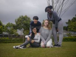 The roomie picture we eventually decided to use as our Yearbook photo. Stripes, not strikes!
