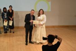 Me receiving the 2016 Student Award for Community Service from Arnett.